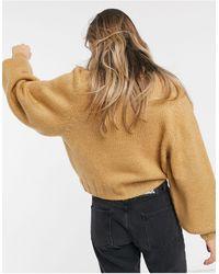 ASOS Светло-коричневый Свободный Джемпер С Объемными Рукавами И Манжетами В Рубчик -neutral - Естественный