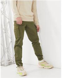 SELECTED Pantalon cargo à ourlet resserré - Kaki - Vert