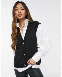 Vero Moda Gebreid Hemd Met Decoratieve Knopen - Zwart