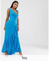 Flounce London Атласное Платье Мидакси Цвета Морской Волны С Запахом -синий