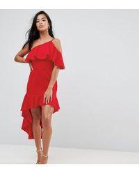 ASOS - High Low Ruffle Bodycon Mini Dress - Lyst