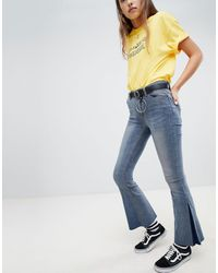 Daisy Street Flare Jeans With Belt - Blue