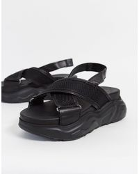 SELECTED Femme Leather Chunky Sandal - Black