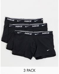 Nike Набор Из 3 Пар Черных Хлопковых Эластичных Боксеров-брифов -черный