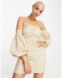 Miss Selfridge Ruched Bardot Mini Dress - Pink