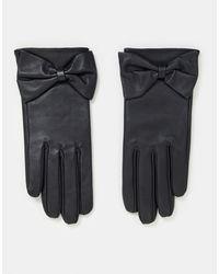 ASOS Leren Handschoenen Voor Touchscreen Met Strik - Zwart