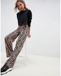 Miss Selfridge - Wide Leg Trousers In Leopard Print - Lyst