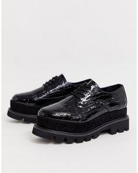Truffle Collection Chaussures lacées à semelle plateforme - Noir croco