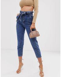 River Island Paperbag Waist Jeans - Blue