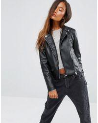 Pull&Bear Leather Look Biker Jacket - Black