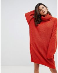 Micha Lounge - Knitted Jumper Dress With Oversized Funnel Neck - Lyst