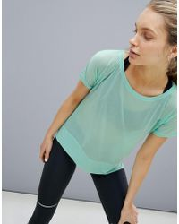 Asics - Running Crop Front Tee In Mint - Lyst