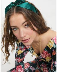 Miss Selfridge Satin Bow Headband - Green