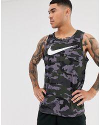 Nike - Camiseta sin mangas de camuflaje gris Dry - Lyst