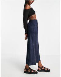Object Yalanda High Waist Midi Skirt - Blue