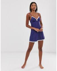 DORINA Romy Ribbed Modal Nightdress In Navy - Blue