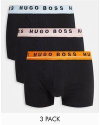 BOSS by HUGO BOSS - Набор Из 3 Боксеров-брифов Черного Цвета С Цветным Поясом Со Сплошным Принтом Логотипа Boss-черный Цвет - Lyst