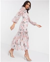 River Island Розовое Платье С Длинными Рукавами И Принтом Пейсли -розовый
