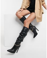 SIMMI Shoes Simmi London Cena Stilletto Knee Boots With Detachable Chain - Black