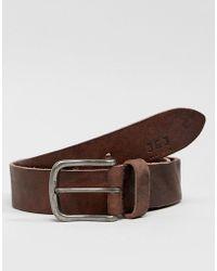 Jack & Jones - Leather Belt With Vintage Buckle - Lyst