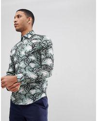 Reiss | Slim Floral Print Shirt In Green | Lyst