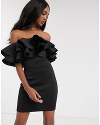 True Violet Exclusive exaggerated Frill Bardot Mini Dress - Black