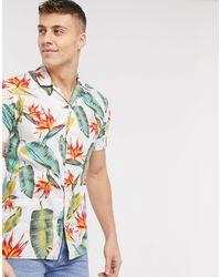 Jack & Jones Рубашка С Короткими Рукавами И Тропическим Принтом Essentials-белый