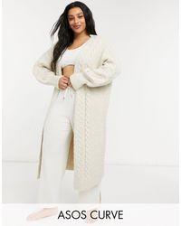 ASOS Asos Design Curve Lounge Maxi Cable Knit Cardigan - Natural