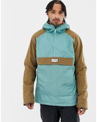 Billabong Stalefish Snowboard Anorak Jacket In Blue/brown