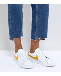 Nike - Blazer Trainers In White And Yellow - Lyst