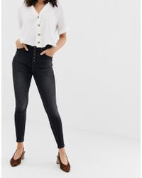 Stradivarius - 4 Button Super Skinny Jean In Washed Black - Lyst