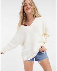 Bershka V Neck Oversized Sweater - Natural