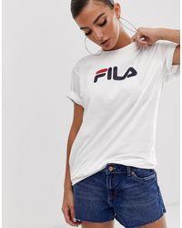 Fila T-shirt boyfriend oversize avec logo sur le devant - Blanc