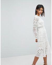 Elliatt Lace Midi Dress - White