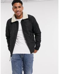 Hollister Sherpa Collar Aviator Bomber Jacket - Black
