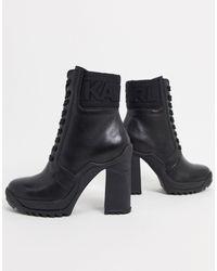 Karl Lagerfeld Черные Ботильоны На Каблуке С Логотипом -черный Цвет