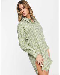 Missguided - Клетчатое Платье-рубашка В Стиле Oversized Шалфейно-зеленого Цвета -зеленый - Lyst