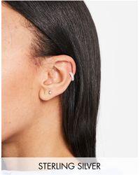 ASOS Bijou d'oreille en argent massif avec cristaux - Métallisé