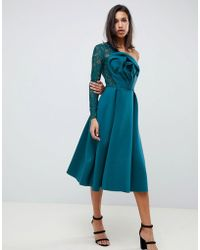ASOS - Lace Sleeve Origami Midi Prom Dress - Lyst
