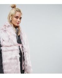 Urbancode - Faux Fur Pink Scarf With Ring Fastening - Lyst