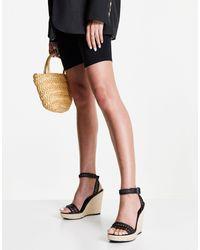 NA-KD Черные Босоножки На Каблуке С Плетеными Ремешками И Подошвой -черный Цвет