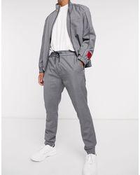 HUGO Zennet202 Drawstring Pinstripe Trousers - Grey