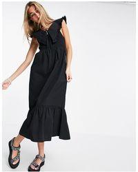 TOPSHOP Vestido midi negro con cuello extragrande y diseño fruncido