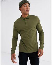 ASOS Polo manches longues en jersey biologique - Kaki - Vert