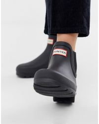 HUNTER Original Chelsea Boots In Matt Black