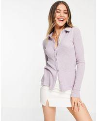 Pull&Bear Jersey Long Sleeve Top - Purple