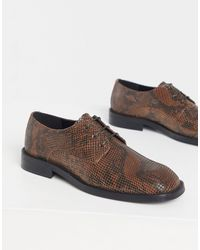 ASOS Lace Up Square Toe Shoes - Brown