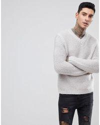 ASOS - Heavyweight Knitted V Neck Jumper In Grey - Lyst