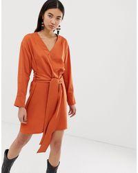 Weekday Wrap Front Dress - Orange
