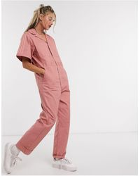adidas Originals Striped Cotton-twill Jumpsuit - Pink